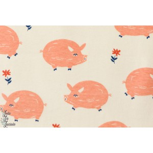 Jersey BIO Homestead Cochons BIRCH Fabric La collection Homestead par Emily Isabella est une célébration du style de vie diy ave