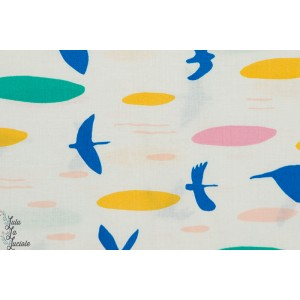 Popeline Bio Cloud9 lore birds White blanc oiseaux