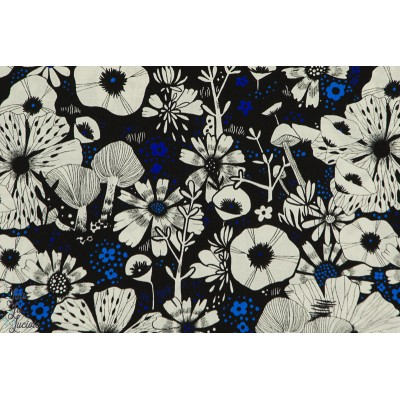Viscose Cotton Steel Cat Lady fleur noir blanc bleu