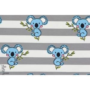 Jersey rayé Koala bleu rayure animaux couture enfant