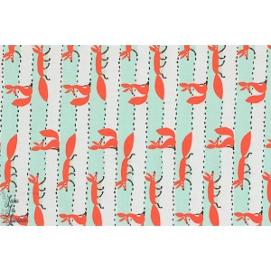 Popeline renards en ligne turquoise