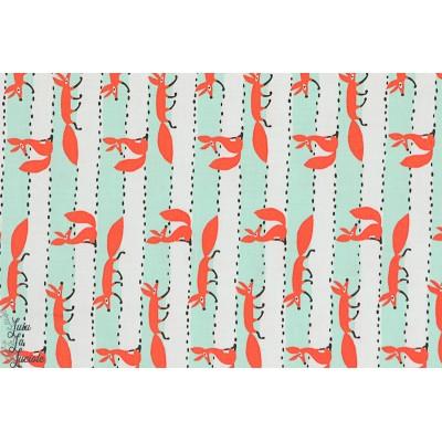Popeline renards en ligne turquoise michael miller