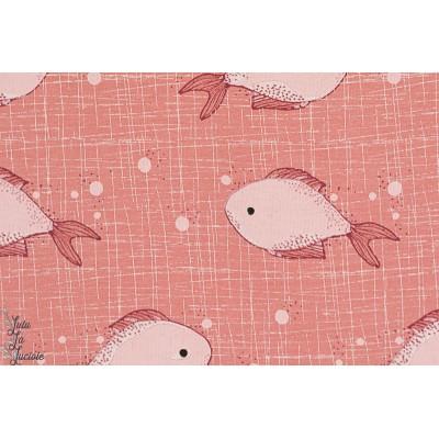 Jersey bio Glitzerfitse - poissons lillestoff corail rose