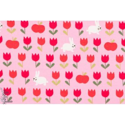 Jersey Bio Lapins et Tulipes, Design: Marie Höhn/Lillemo pour lillestoff.