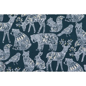 Forest Animals on Navy NORR1214Navy dashwood studio Bethan Janine animaux NORRLAND