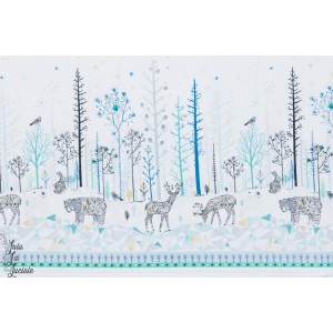 Double Bordure Cerf et ours dans la neige -norrland - dashwood studio - bethan janine Norr1215 popeline
