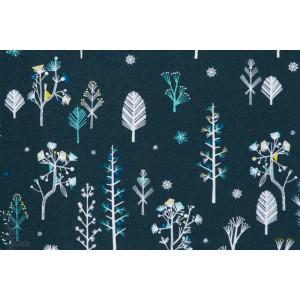 Frozen tree Metallic - NORR1216 - arbre - popeline Dashwood studio norrland bethan janine bleu