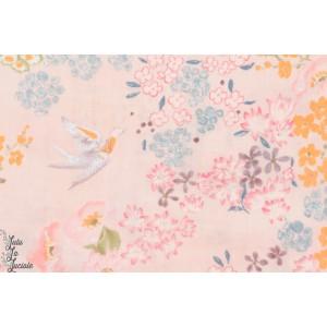 Double Gaze Nani IRO Ko garden jardin rose oiseau peinture coton femme
