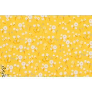 Popeline bio CLOUD9 Stay Gold fleur jaune